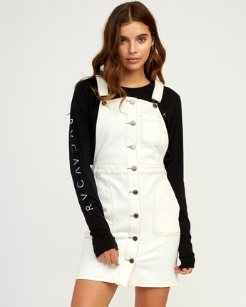 0 Conquer Denim Overall Dress White WD11TRCO RVCA