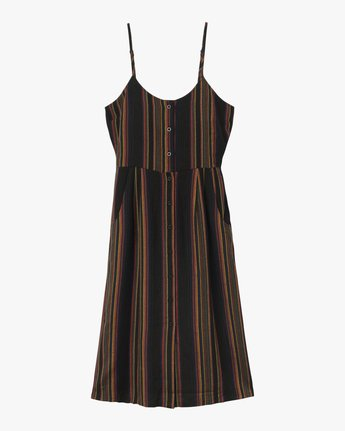 5 Medway Striped Midi Dress Black WD13QRME RVCA