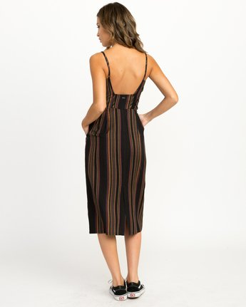 4 Medway Striped Midi Dress Black WD13QRME RVCA