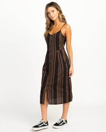 3 Medway Striped Midi Dress Black WD13QRME RVCA