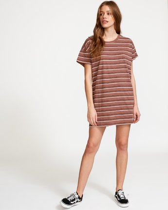 4 Strikeout Striped T-Shirt Dress Brown WD13VRST RVCA