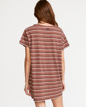 2 Strikeout Striped T-Shirt Dress Brown WD13VRST RVCA
