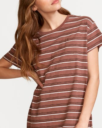 3 Strikeout Striped T-Shirt Dress Brown WD13VRST RVCA