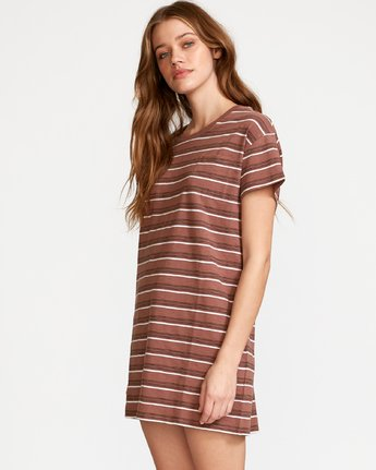 1 Strikeout Striped T-Shirt Dress Brown WD13VRST RVCA