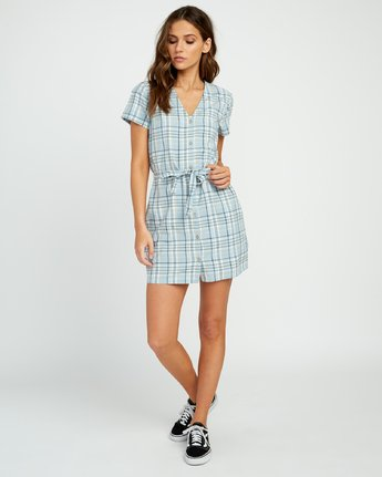 4 Landed Button-Up Dress Blue WD14URLA RVCA
