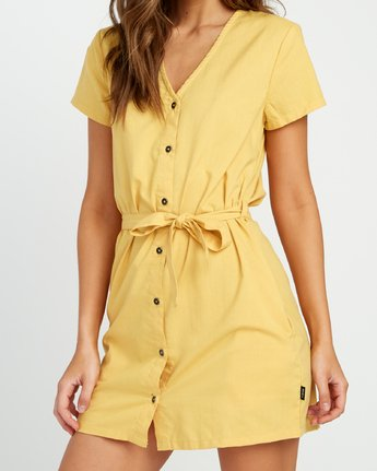 3 Landed Button-Up Dress Yellow WD14URLA RVCA