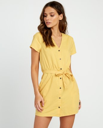0 Landed Button-Up Dress Yellow WD14URLA RVCA