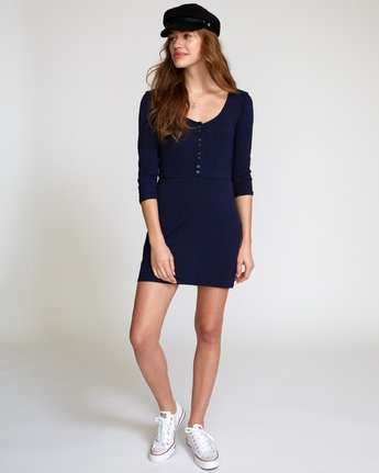 4 Twister Ribbed Long Sleeve Dress Blue WD16VRTR RVCA