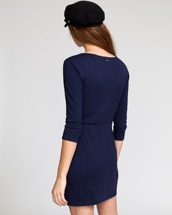 2 Twister Ribbed Long Sleeve Dress Blue WD16VRTR RVCA