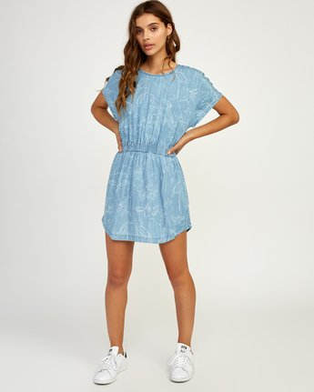 5 Nothing Left Printed Chambray Dress Blue WD17TRNL RVCA