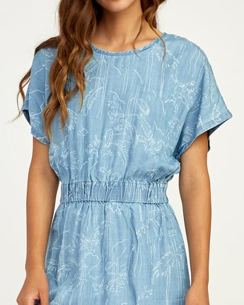 4 Nothing Left Printed Chambray Dress Blue WD17TRNL RVCA