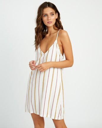 1 Fluke Striped Dress White WD17URFS RVCA