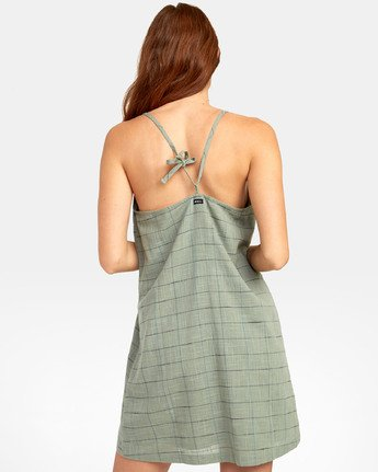 3 ADIOS TANK DRESS Green WD181RAD RVCA