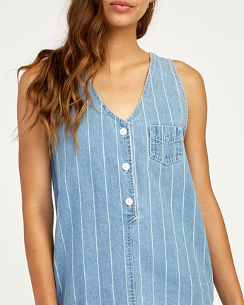 4 Trail It Striped Denim Dress Blue WD18TRTI RVCA