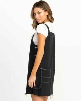 3 Neo Pinny Denim Overall Dress Black WD20QRNE RVCA