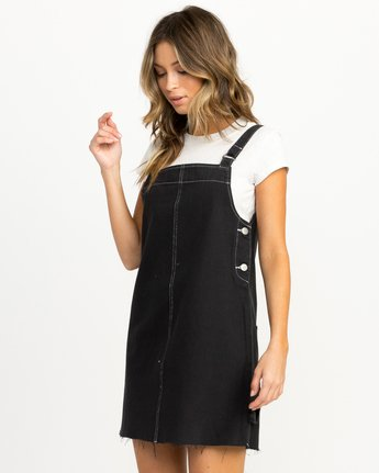 2 Neo Pinny Denim Overall Dress Black WD20QRNE RVCA