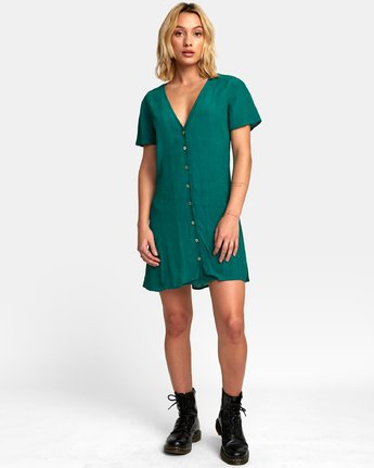 4 Guilt Button-Up Dress Green WD20WRGU RVCA