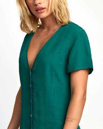 3 Guilt Button-Up Dress Green WD20WRGU RVCA