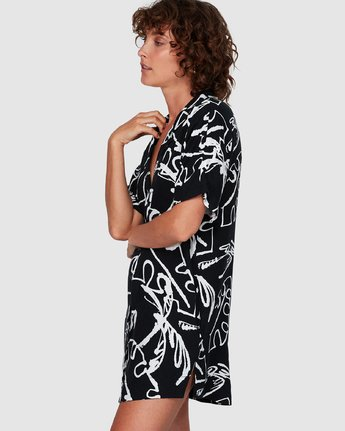 1 Scribble Palm Shirt Dress Black WD85WRSP RVCA