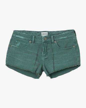 6 Hello Mellow Denim Cutoff Shorts Green WF206HEL RVCA