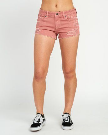 1 Hello Mellow Denim Cutoff Shorts Brown WF206HEL RVCA