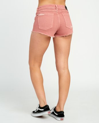 3 Hello Mellow Denim Cutoff Shorts Brown WF206HEL RVCA