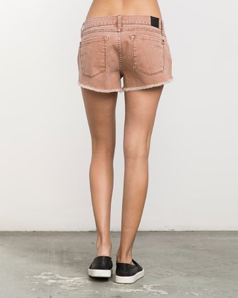 3 Hello Mellow Denim Cutoff Shorts Orange WF206HEL RVCA