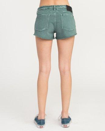 4 Hello Mellow Denim Cutoff Shorts Green WF206HEL RVCA