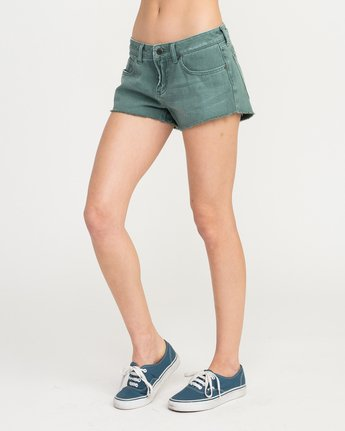 2 Hello Mellow Denim Cutoff Shorts Green WF206HEL RVCA