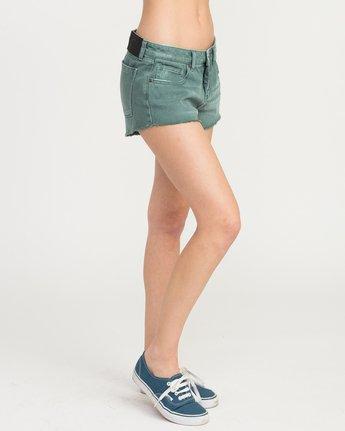 5 Hello Mellow Denim Cutoff Shorts Green WF206HEL RVCA