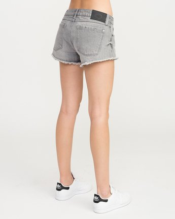 3 Hello Mellow Denim Cutoff Shorts Grey WF206HEL RVCA