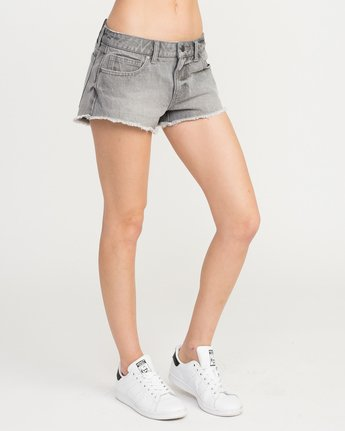 4 Hello Mellow Denim Cutoff Shorts Grey WF206HEL RVCA