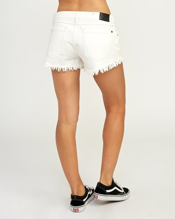 4 Hello Mellow Denim Cutoff Shorts White WF206HEL RVCA