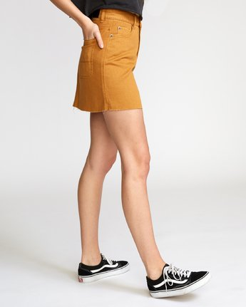3 Rowdy Denim Mini Skirt Orange WK01VRRM RVCA