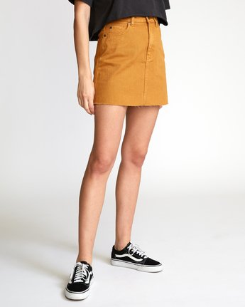 4 Rowdy Denim Mini Skirt Orange WK01VRRM RVCA