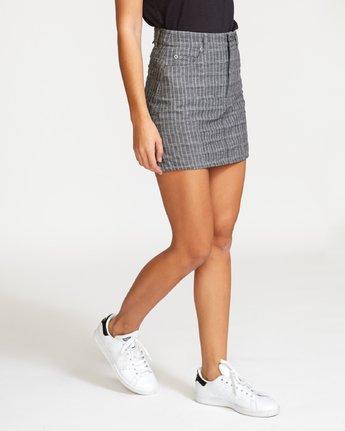 4 Rowdy Plaid Denim Mini Skirt Grey WK01VRRP RVCA