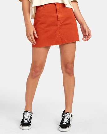 0 SIENA HIGH RISE DENIM SKIRT Orange WK02VRSI RVCA