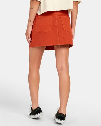 4 SIENA HIGH RISE DENIM SKIRT Orange WK02VRSI RVCA