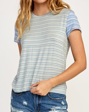 3 Recess Striped Knit T-Shirt Blue WK905REC RVCA