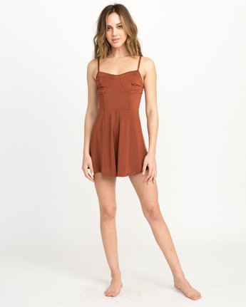 4 Bare Silky Lounge Romper Brown WL03QRBA RVCA