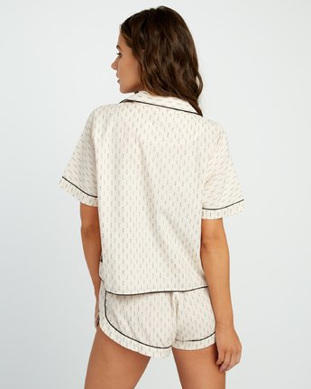 2 Tainted PJ Button-Up Top Beige WL03URTA RVCA