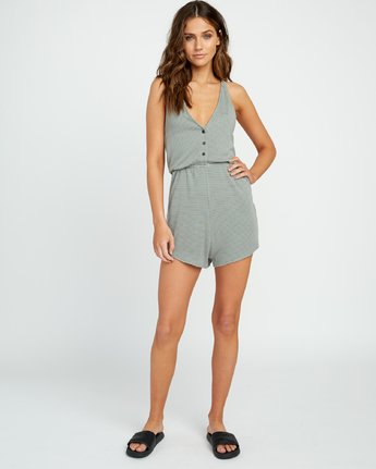 4 Soul Striped Knit Lounge Romper Green WL05URSR RVCA