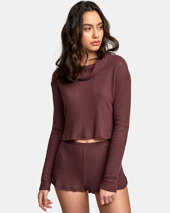 1 Blushing Thermal Knit Top Brown WL08WRBL RVCA