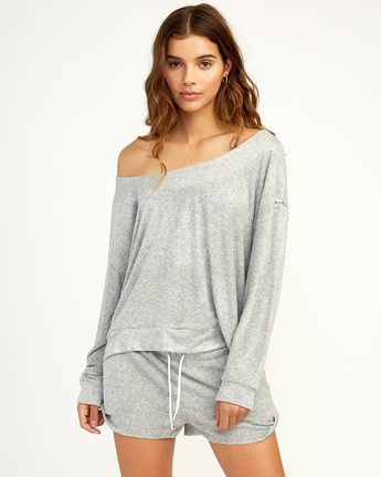1 Whisper Fleece Pullover Top Grey WL09TRWP RVCA