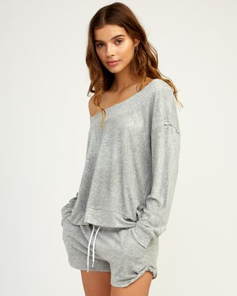 2 Whisper Fleece Pullover Top Grey WL09TRWP RVCA