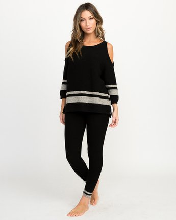 3 Marked Cutout Knit Sweater Black WLL01MAR RVCA