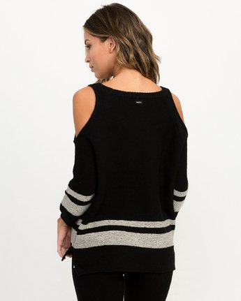 2 Marked Cutout Knit Sweater Black WLL01MAR RVCA