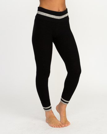 3 Loomed Knit Leggings Black WLL02LOM RVCA