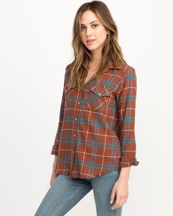 1 In A Haze Plaid Flannel Shirt Brown WM506INA RVCA