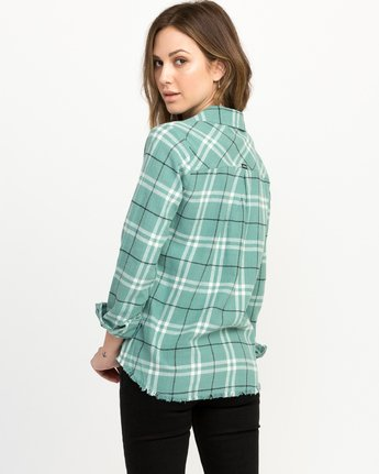 2 In A Haze Plaid Flannel Shirt Blue WM506INA RVCA